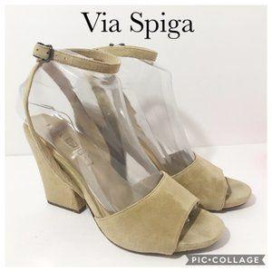 Via Spiga Khaki Suede Heeled Sandal 7